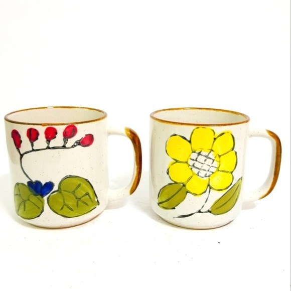 Vintage 70s floral neutral earthy coffee cups set